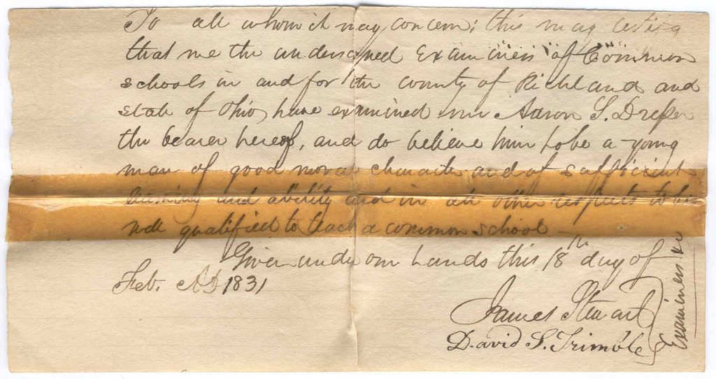 Aaron Story Dresser teaching certificate 1831